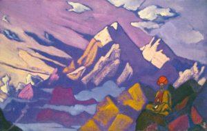 Картина Н.К.Рериха. Тибет. Лама в горах 1925-1930