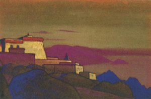 Картина Н.К.Рериха. Тибет. Монастырь гелукпа. 1936