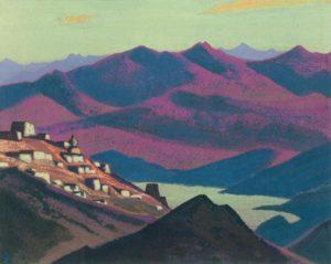 Картина Н.К.Рериха. Тибет. Озеро Ям-цо [Озеро Ям-Цо (Селение в горах)] 1937
