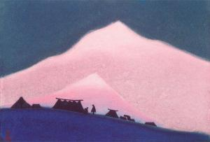 Картина Н.К.Рериха. Тибетский стан. [Чантанг] 1943