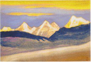 Картина Н.К.Рериха. Граница Тибета. 1944