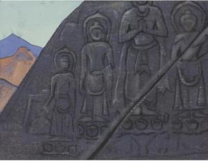 Картина Н.К.Рериха. Рельеф Будды на скале. Тибет (Каменный рельеф с изображением Будды). 1928