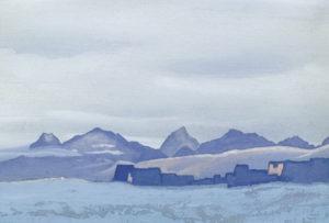 Картина Н.К.Рериха. Тибет [Монастырь зимой] 1942