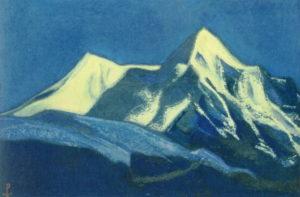 Картина Н.К.Рериха. Тибет [В лунном свете. Ладак. Кардонг] 1944