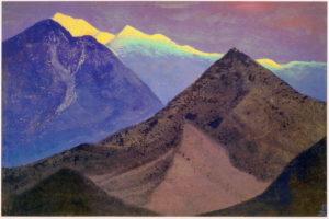 Картина Н.К.Рериха. Тибет [Тибет (Темные вершины. Вечер)] 1937