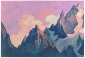 Картина Н.К.Рериха. Тибет [Клубящееся зарево] 1945