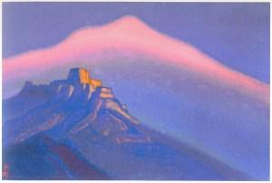 Картина Н.К.Рериха. Тибет [Горная обитель] , [Этюд гор. Горный монастырь на закате] 1943