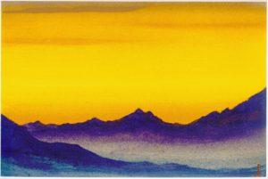 Картина Н.К.Рериха. Тибет. [Тибет [Вечерний свет]] 1944