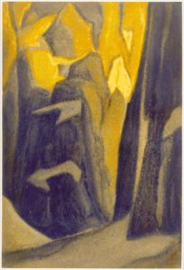 Картина Н.К.Рериха. Тибет. [Тибет [Неприступные стены]] 1945