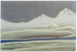 Картина Н.К.Рериха. Тибет. [Серебристые горы в тумане] 1942