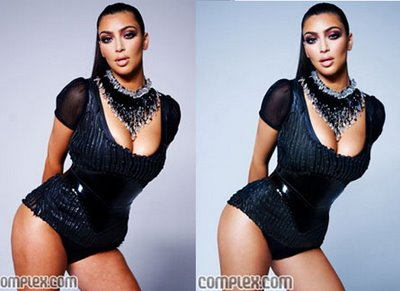 Kim Kardashian was featured on the cover of Complex Magazine. The original cover (left) was leaked. The photoshopped version (right) is on newstands now.