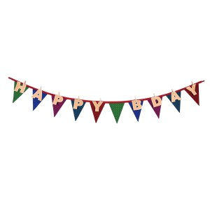 happy bday banner and bunting sold by Ethiqana a shop specialising in eco friendly products, earth friendly products and sustainable products.