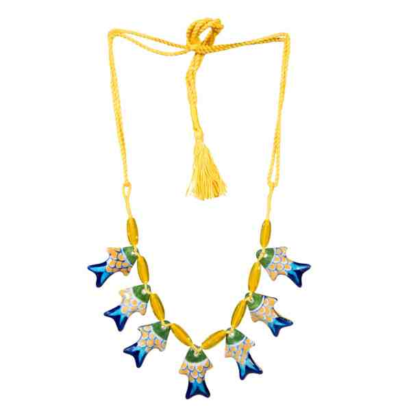 handmade pottery boho jewellery neckalce sold by Ethiqana a shop specialising in eco friendly products, earth friendly products and sustainable products.