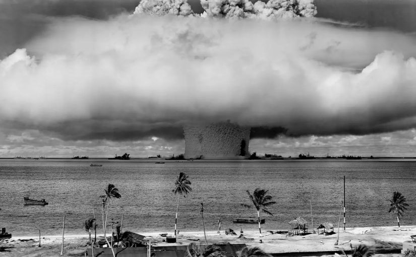 "U.S. Department of Defense / Creative Commons The ""Baker"" explosion, part of Operation Crossroads, at Bikini Atoll, 1946."