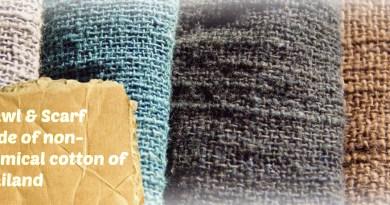 手摘み無農薬のコットンを使ったショールやスカーフ