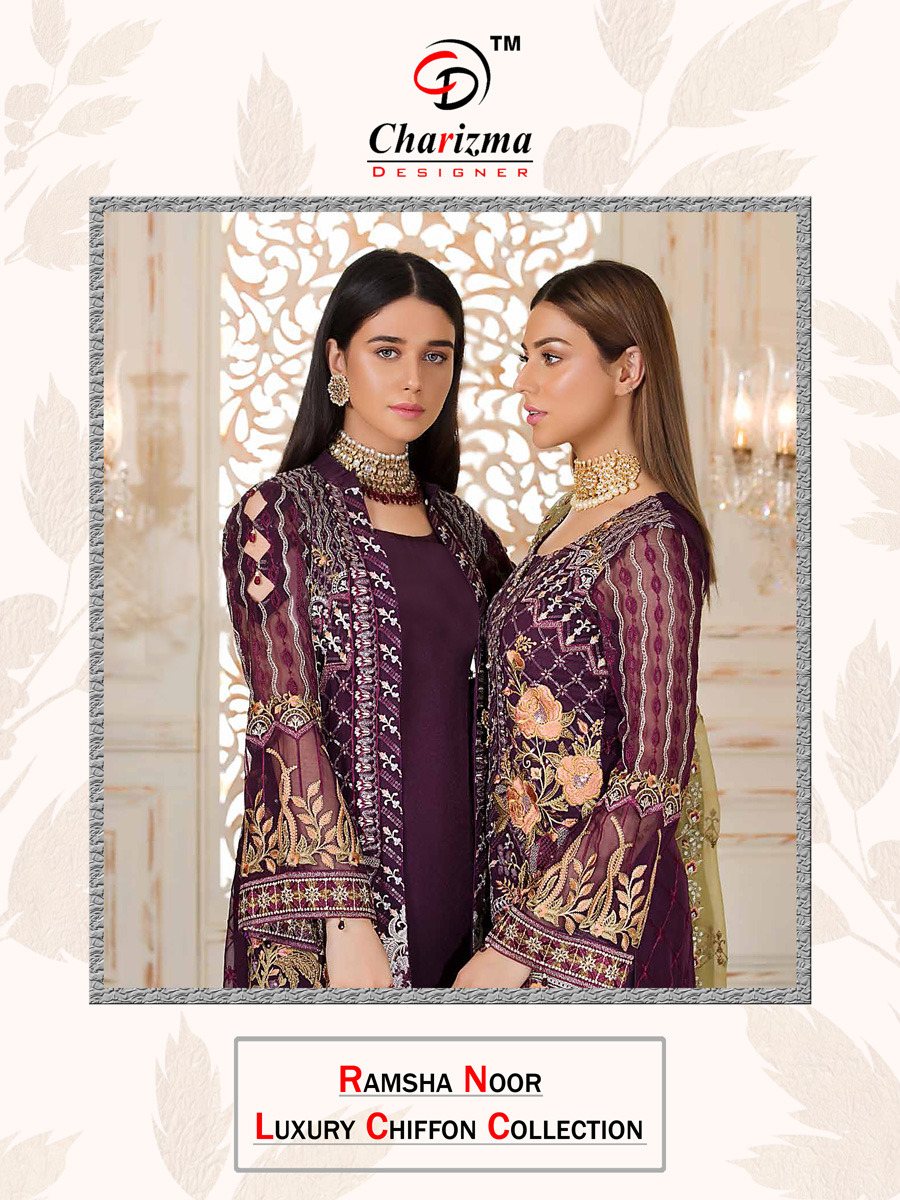 Charizma Designer Ramsha Noor Embroidered Faux Georgette And Net Pakistani Dress Material Collection