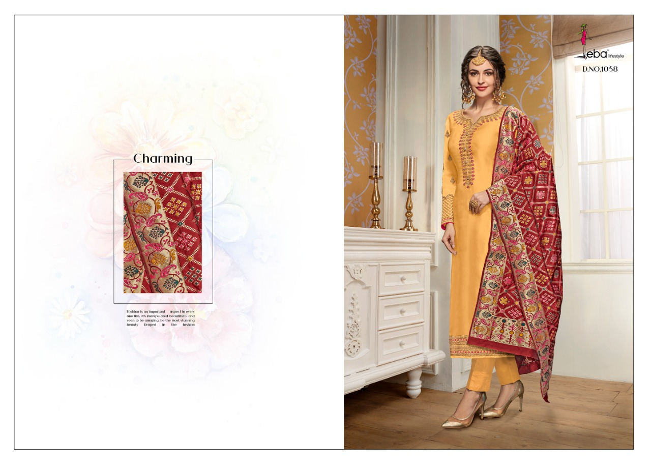 fb97fe49c0 Eba Lifestyle Hurma Vol 11 Pure Satin Georgette with Embroidery Work ...