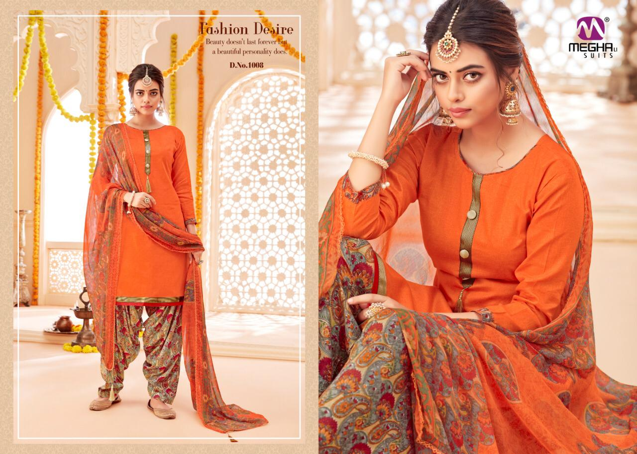 Meghali Suits Megha Jhumka Printed Jam Satin With Embroidery Work Dress Material Collection Surat