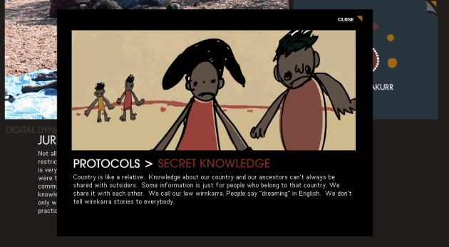 """Digital Dynamics Across Cultures"" -- illustrating the Warumungu protocol of secret knowledge"