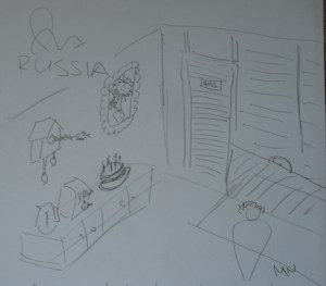 A Russian architect draws a picture of traditional office interiors and mores.