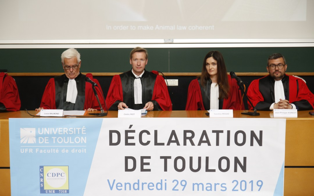 "Press release: Toulon Declaration: ""Animals must be considered as non-human natural persons"""