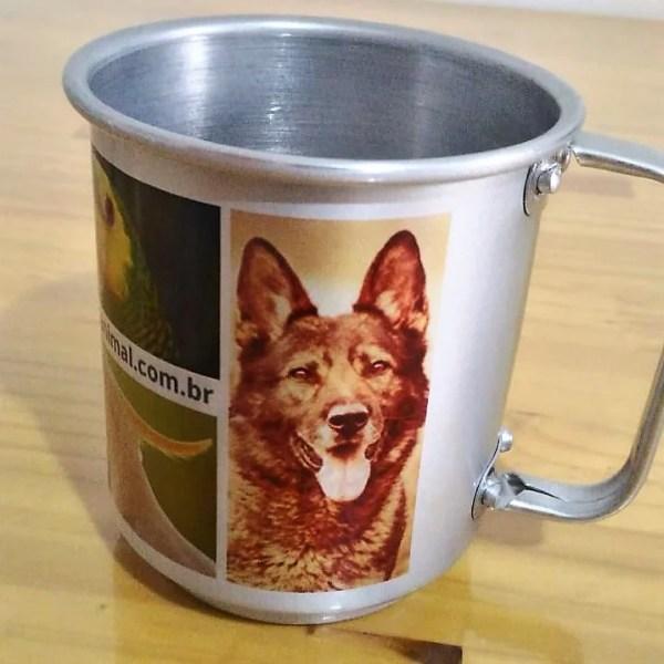 caneca aluminio personalizada foto pet cao cachorro gato papagaio amigos ethos animal 04