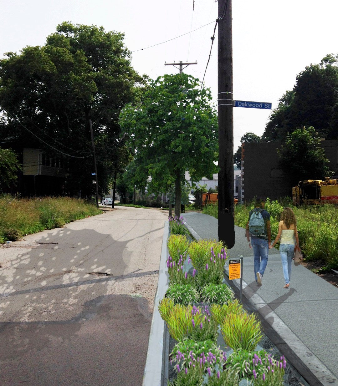 Photo collage rendering of green infrastructure