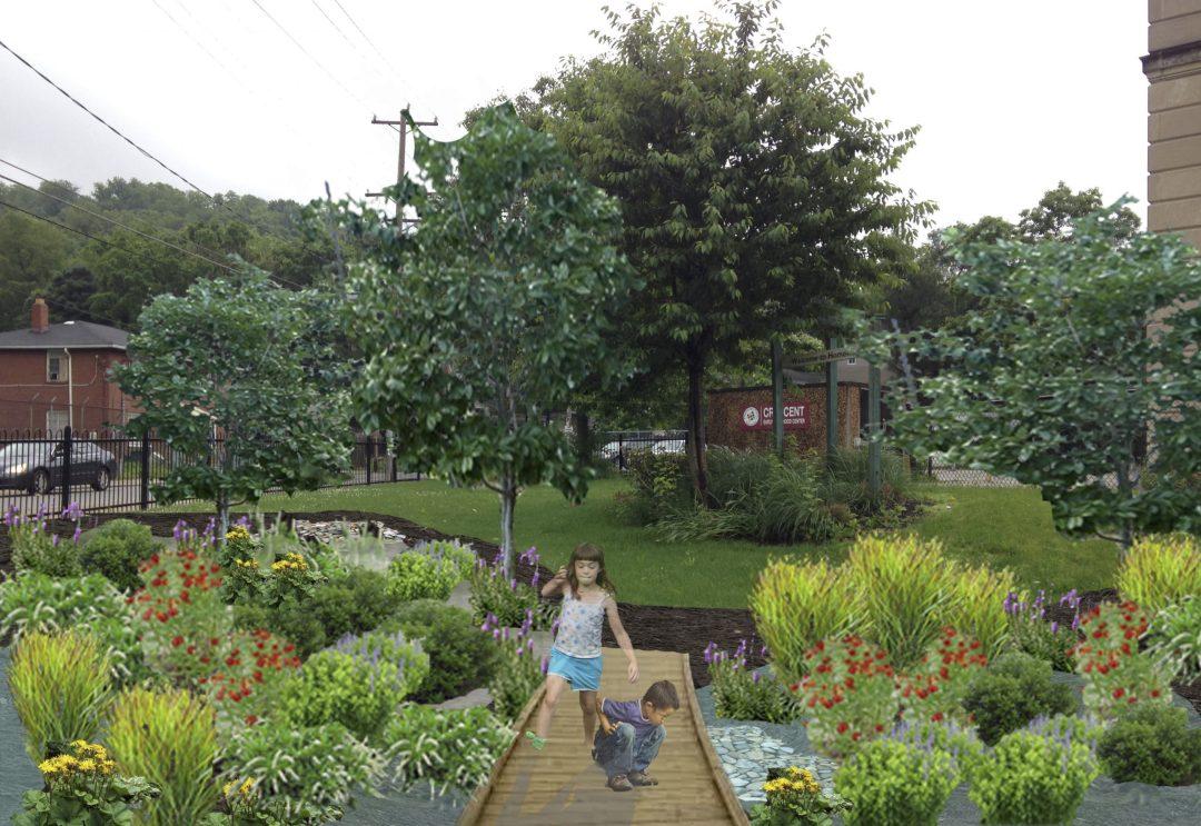 Photo collage rendering of rain gardens