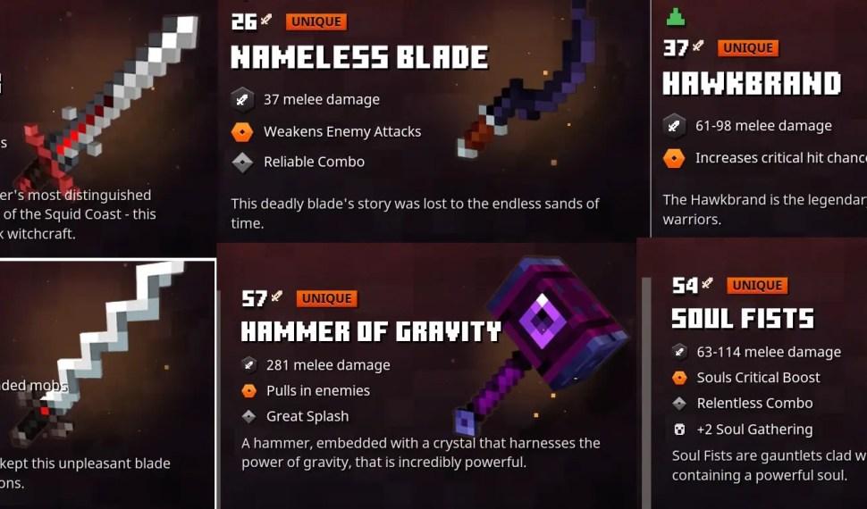 Best Weapons in Minecraft Dungeons
