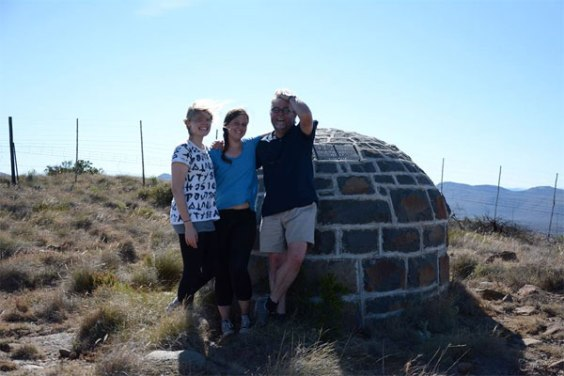 Visiting, with daughters Imke and Menán, Olive Schreiner's grave on Buffelskop, Cradock, South Africa.