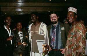 With Zimbabwean poet Chirikure Chirikure, his wife, Niji Osundare, a Nigerian poet, and Nigerian novelist Festus Iyayi, Harare, 1998.