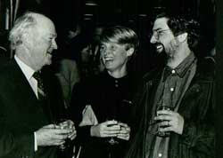 """With his wife, Kaia, and Judge Wilfred Cooper, who was the advocate of Dimitrios Tsafendas, the man who assassinated Dr HF Verwoerd (""""the architect of Apartheid""""). At the launch of Casspirs and Campari's at the Cape Town Waterfront, 1988."""