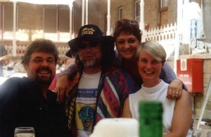 With his wife, Kaia (far right), South African singer Koos Kombuis and cabaret diva Amanda Strydom, at the Klein Karoo Arts Festival, Oudtshoorn, 1999.