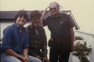 With literary fathers Jan Rabie (left) and Etienne Leroux (far right), Onrust River, South Africa, 1982