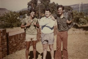 With school friends Dawie (Vaatjie) de Villiers and Koos Kombuis (now a famous singer) at Hermanus, 1973.
