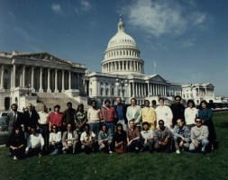 With fellow writers in Washington, USA, in the late '80s.
