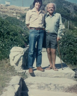 With poet Uys Krige, Onrust River, South Africa, during the '80s.