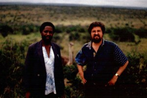With Zimbabwean novelist Chenjerai Hove near Fort Hare, Eastern Cape, South Africa (note the ostrich between us). Chenjerai is now in exile in Amsterdam.