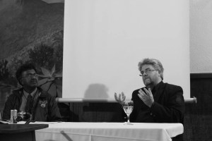 With organiser Darryl David at the Schreiner Festival, Victoria Manor, Cradock, 2010.