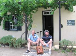 In front of the Olive Schreiner Museum, Cradock, with historian Paul Murray, who assists Van Heerden with research for his novels.