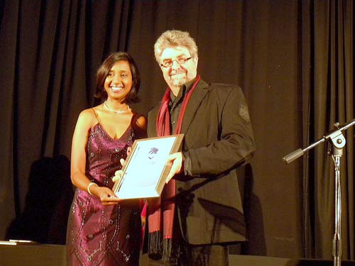 Receiving the M-Net Literary Award for 30 Nagte in Amsterdam, 2009.