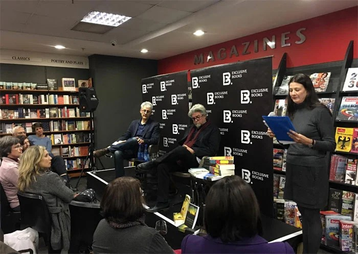 Being interviewed by Willie Burger, in Exclusive Books, Pretoria.
