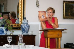 Helize van Vuuren (Nelson Mandela University) spoke about her book A necklace of springbok ears. (Photo: Amy Coetzer)