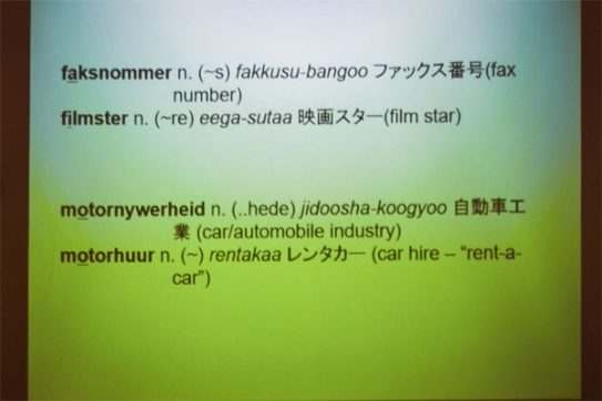 Examples from Ernst Kotzé's Afrikaans-Japanese dictionary (Photo: Amy Coetzer)