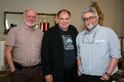 Ernst Kotzé with novelists Alexander Strachan and Etienne van Heerden (Photo: Amy Coetzer)