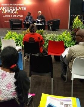 Being interviewed at ARTiculate Africa literary festival, Durban, by festival organiser Darryl David.