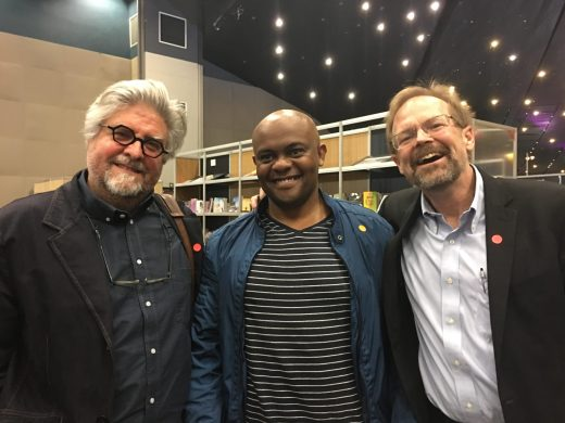 At the ARTiculate Africa literary festival in Durban, with Durban novelist Sifiso Mzobe and poet Christopher Merril, Director of the USA University of Iowa's International Writing Programme. Van Heerden is an Honorary Fellow of the programme.