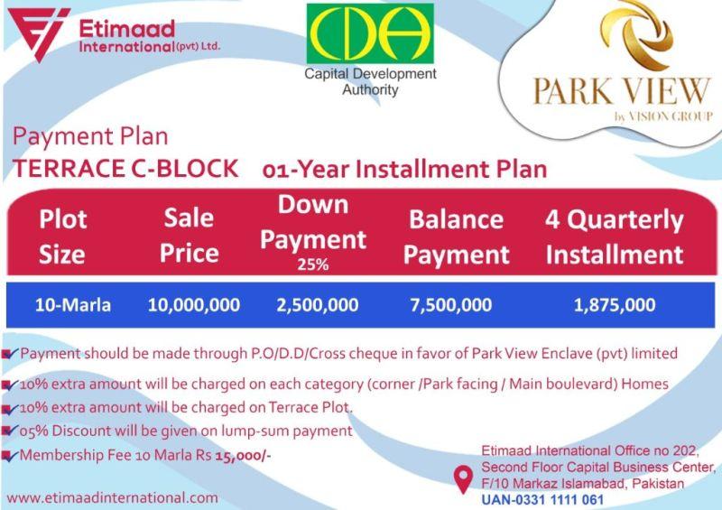 Payment Plan Park View City Terrace C Block: