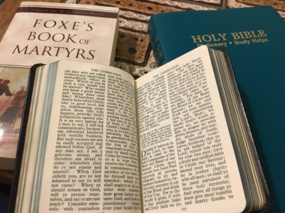 Three books that changed a nation — the Bible in English, the Book of Common Prayer, and Foxe's Book of Martyrs