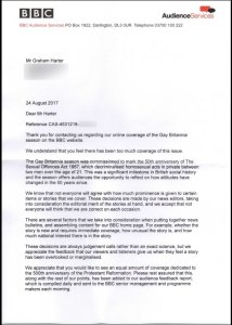 Reply letter from BBC Audience Services to my question about their selection of online editorial content (Page 1)